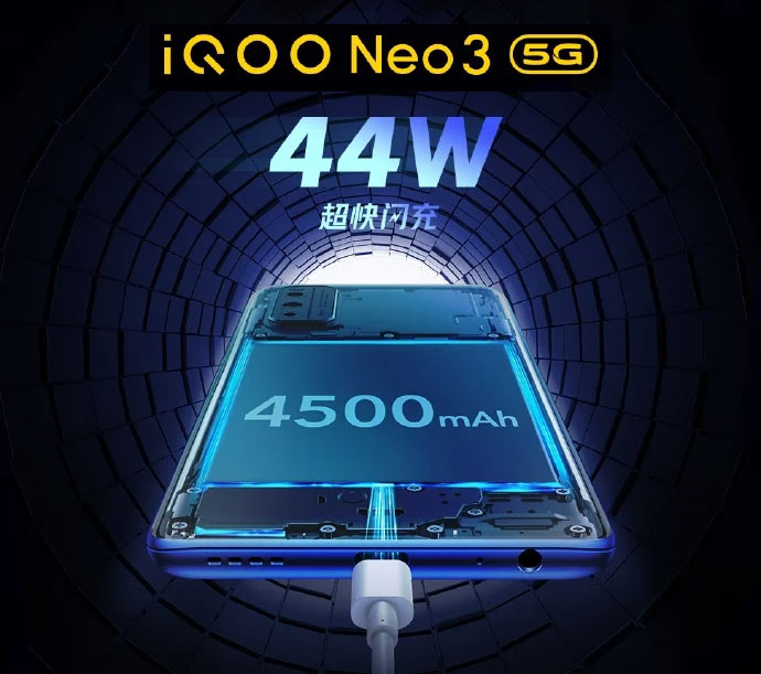 iQOO Neo3 with 44W fast charging can fully charge in 58 minutes