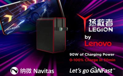 Lenovo Partners with Navitas Again to Deliver the World's First GaNFast 90W Fast Charger for E-sports Mobile Phones