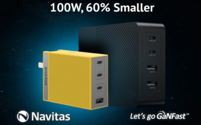 Navitas and SHARGE Upgrade 100W Fast Charging: 60% Smaller than Legacy Silicon